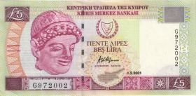 Zypern / Cyprus P.61a 5 Pounds 2001 (2+)