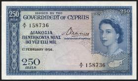 Zypern / Cyprus P.33 250 Mils 1956 (1/1-)
