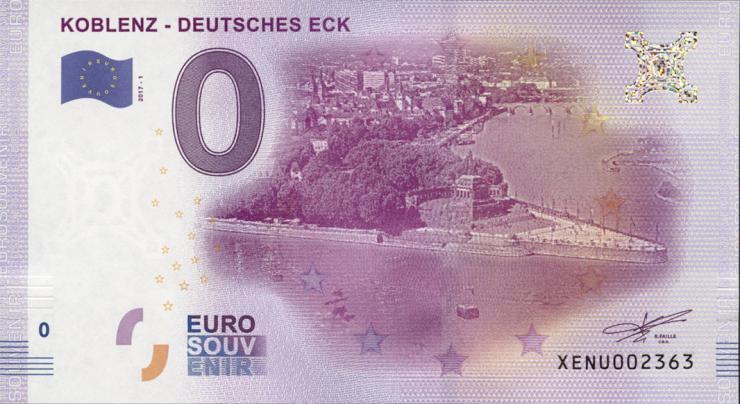 0 Euro Souvenir Schein Koblenz Deutsches Eck (1)