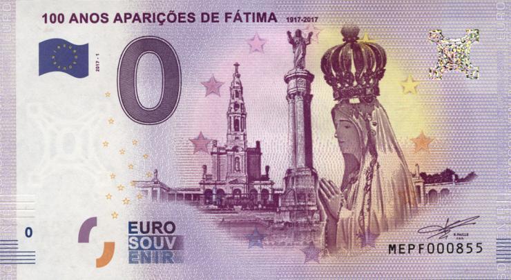 0 Euro Souvenir Schein Vatikan 100 Jahre Marienerscheinung Fatima (1)