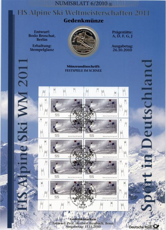 2010/6 Eis Alpine Ski WM 2011 - Numisblatt
