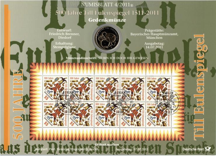 2011/4 500 Jahre Till Eulenspiegel 1511-2011 - Numisblatt