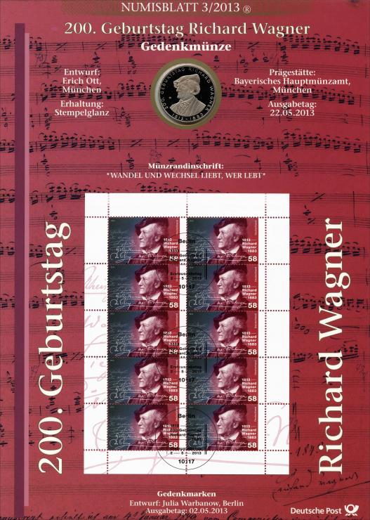 2013/3 200. Geburtstag Richard Wagner - Numisblatt