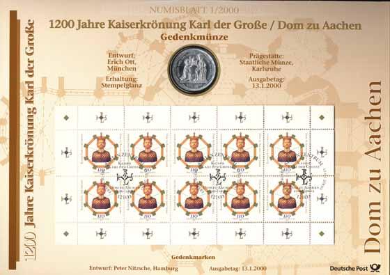 2000/1 Karl der Große/ Dom zu Aachen - Numisblatt
