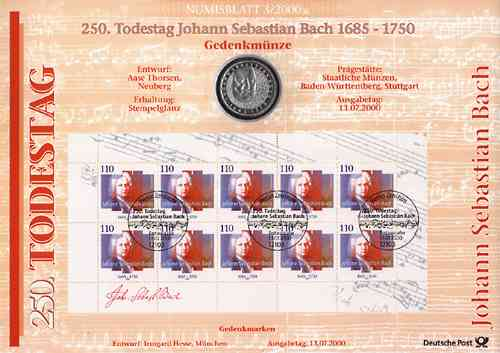 2000/3 Johann Sebastian Bach - Numisblatt