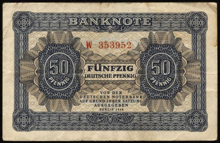 R.339a: 50 Pfennig 1948  6-stellig Serie W (3)