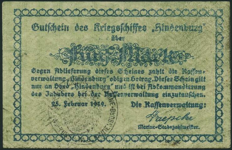 5 Mark 1919 Gutschein Kriegsschiff Hindenburg (3)