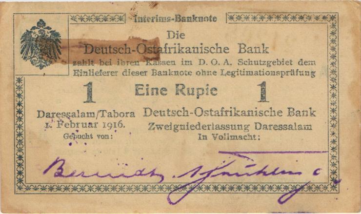 R.928ac: Deutsch-Ostafrika 1 Rupie 1916 A4 (1-)