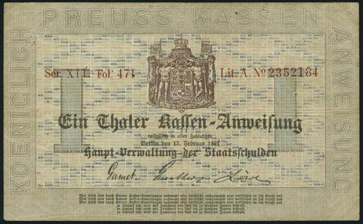 A-222 Preußen 1 Thaler 1861 (3-)