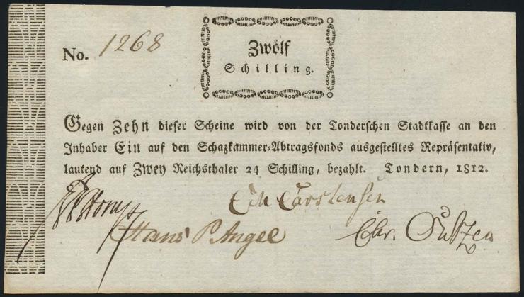A-647 Schleswig-Holstein-Tondern 12 Schilling 1812 (1-)
