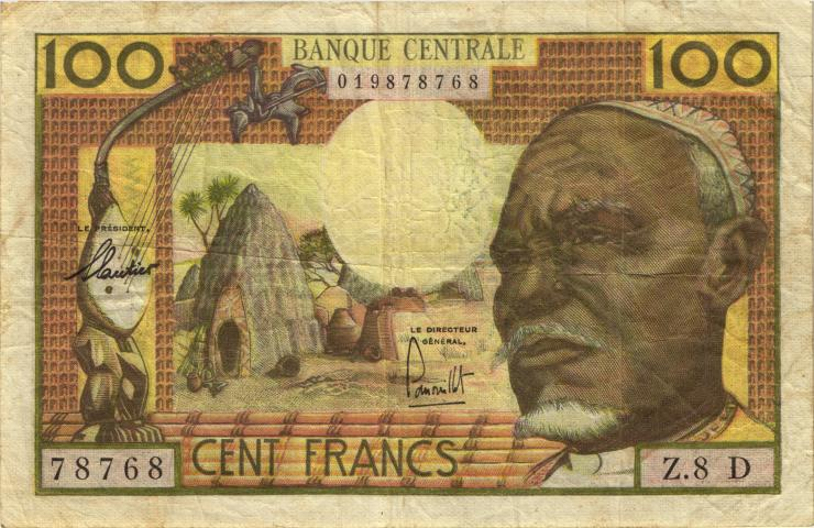Äquat.-Afrikan.-Staaten P.03d 100 Francs (1963) D (3-)