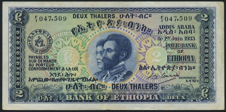 Äthiopien / Ethiopia P.06 2 Thalers 1933 (3+)