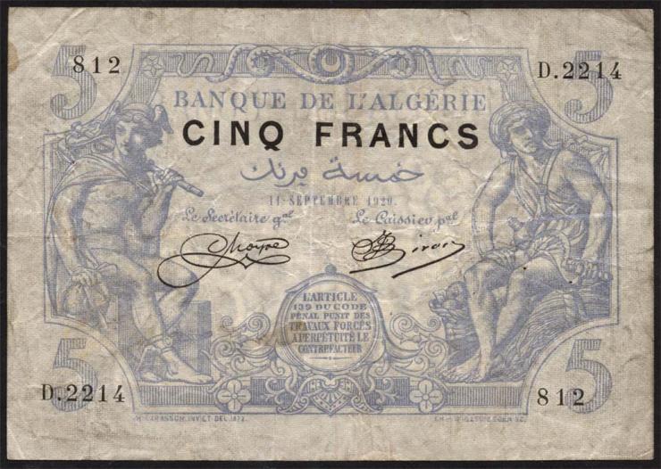 Algerien / Algeria P.071b 5 Francs 11.09.1920 (4)