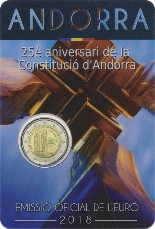 Andorra 2 Euro 2018 25 Jahre Verfassung im Blister