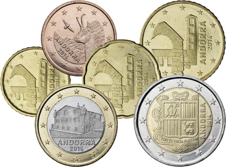 Andorra Eurokursmünzen 5 Cent - 2 Euro 2014
