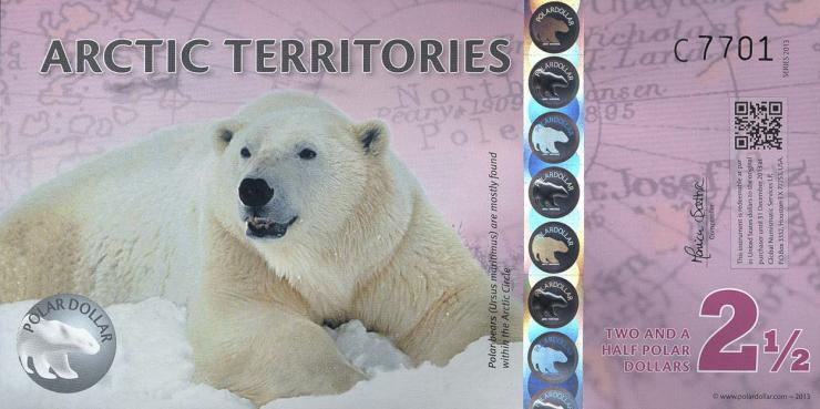 Arctic Territories 2 1/2 Dollars 2013 Polymer (1)