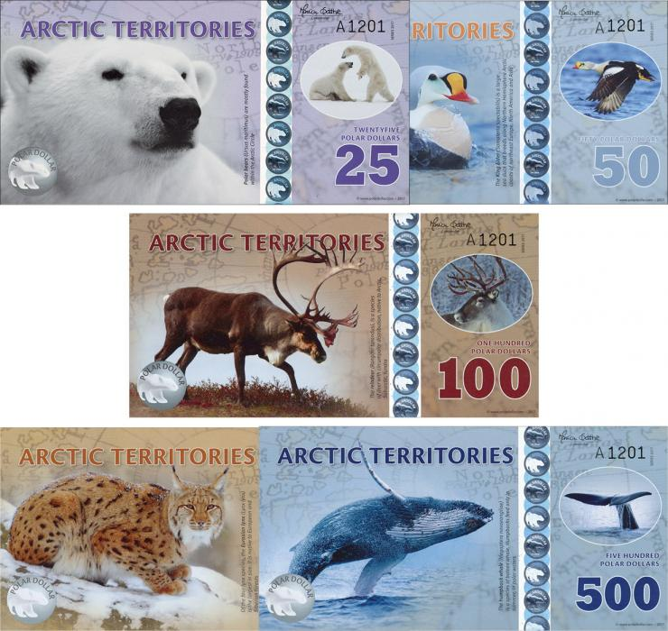Arctic Territories 25-500 Polar Dollars 2017 (1)