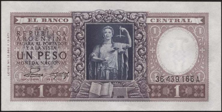 Argentinien / Argentina P.263 1 Peso (1956) (1)