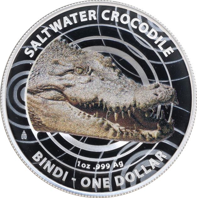 Australien Silber-Unze 2013 Salzwasser-Krokodil/ Farbe