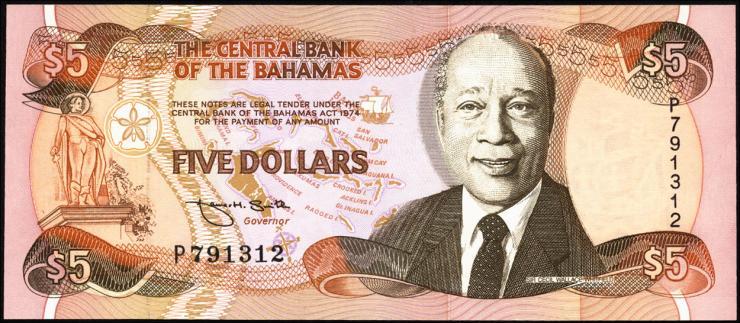 Bahamas P.52 5 Dollars 1974 (1995) (1)