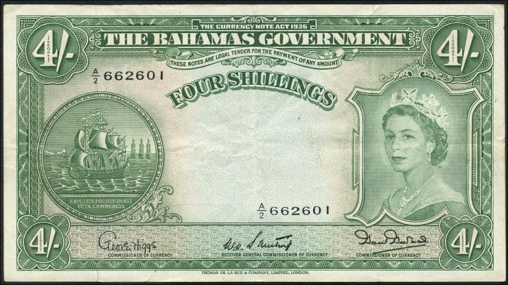 Bahamas P.13b 4 Shillings (1953) (3)