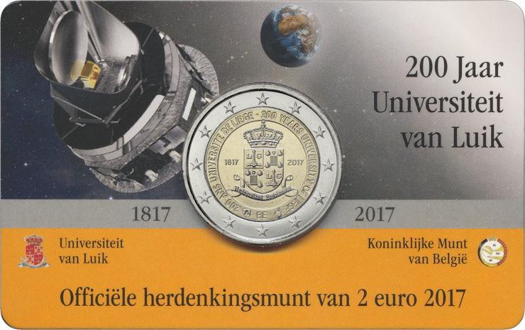 Belgien 2 Euro 2017 200 Jahre Universität Lüttich (fläm.)