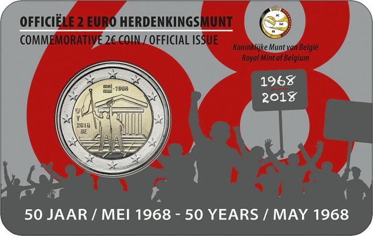 Belgien 2 Euro 2018 50. Jahrestag der Ereignisse vom Mai 1968 in Belgien (fläm.)