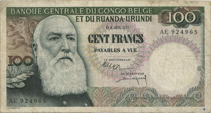 Belgisch-Kongo / Belgian Congo P.33b 100 Francs 1.9.1959 (3)