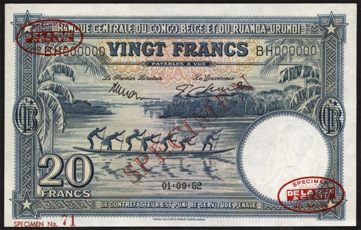 Belgisch-Kongo / Belgian Congo P.23s 20 Francs 1.9.1952 (1)