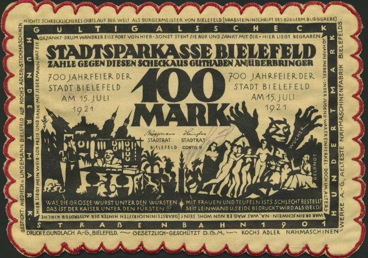 Bielefeld GP.22h 100 Mark 1921 Seide (1)
