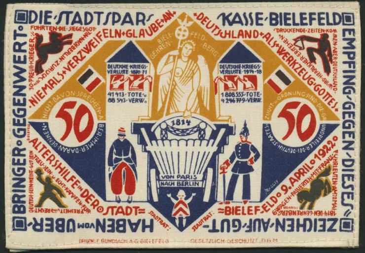 Notgeld Bielefeld GP.20c 50 Mark 1922 Seide (1)