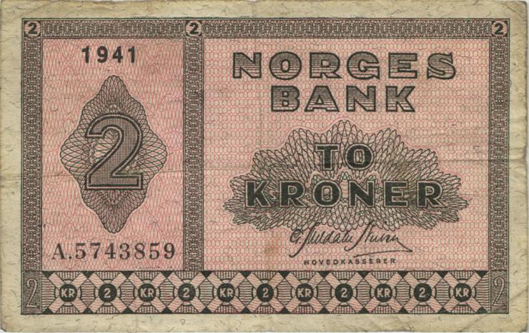 Norwegen / Norway P.16a 2 Kronen 1941 (4)