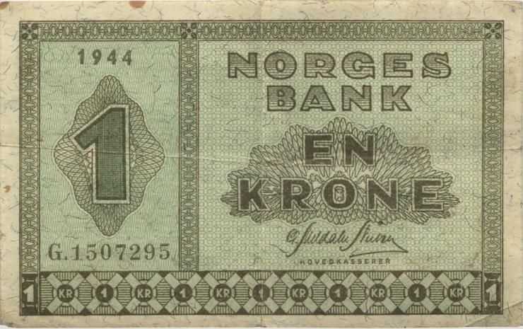 Norwegen / Norway P.15a 1 Krone 1944 (3)