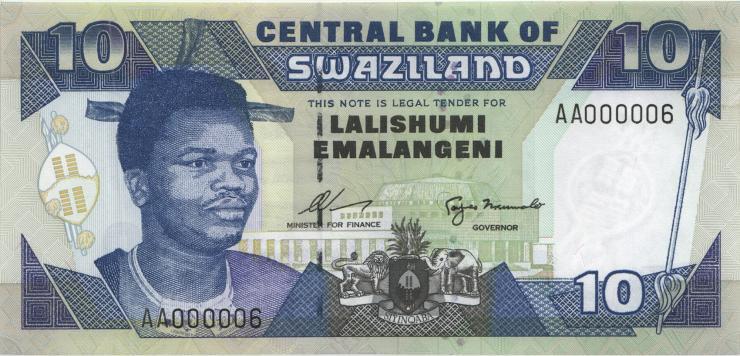 Swasiland / Swaziland P.24a 10 Emalangeni (1995) AA000006