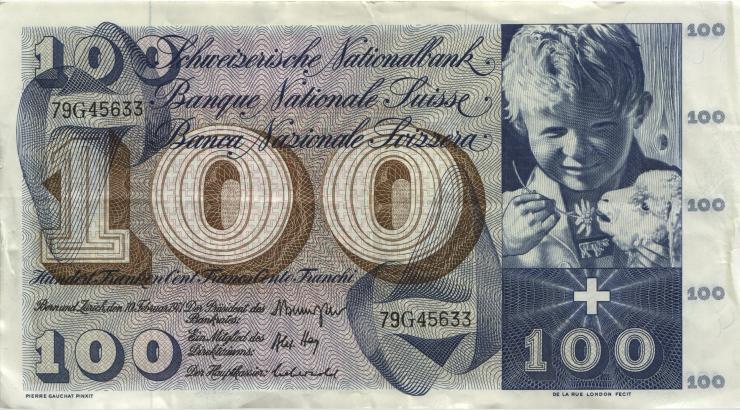 Schweiz / Switzerland P.49m 100 Franken 1971 (3)