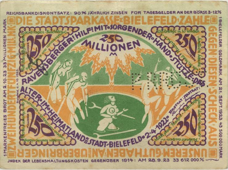 Bielefeld 250 Millionen Mark 1923 (2) Perforiert