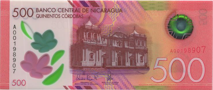 Nicaragua P.neu 500 Cordobas 2017 (2019) Polymer (1)