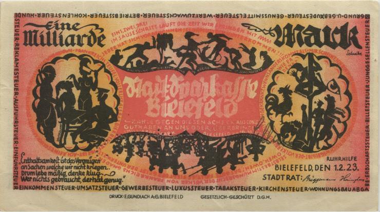 Bielefeld 1 Milliarde Mark 1923 (1-) Perforiert