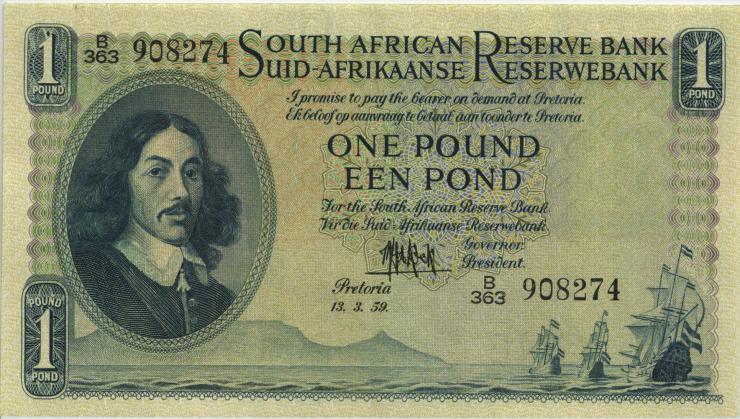 Südafrika / South Africa P.092d 1 Pound 13.3.1959 (Englisch) (2)