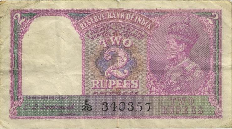 Indien / India P.017b 2 Rupien (1937) Georg V. (3-)