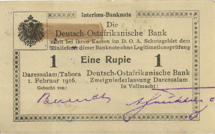 R.929v: Deutsch-Ostafrika 1 Rupie 1916 U3 korrigierte Nummer (1)