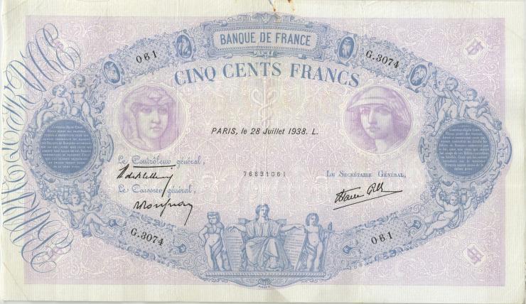 Frankreich / France P.088c 500 Francs 1938 (4)
