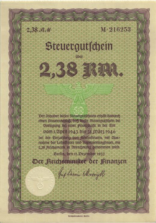 Steuergutschein 2,38 Reichsmark 1937 (1943) (1)