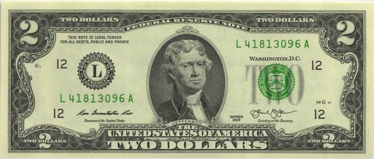 USA / United States P.538 2 Dollars 2013 L (1)