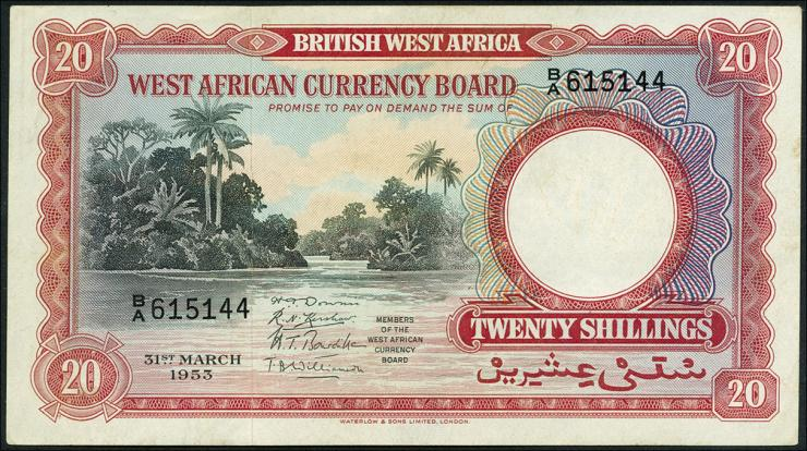 British West Africa P.10a 20 Shillings 1953 (2+)