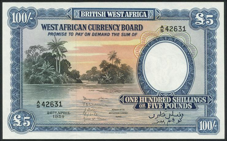 British West Africa P.11b 100 Shillings 1954 (1)