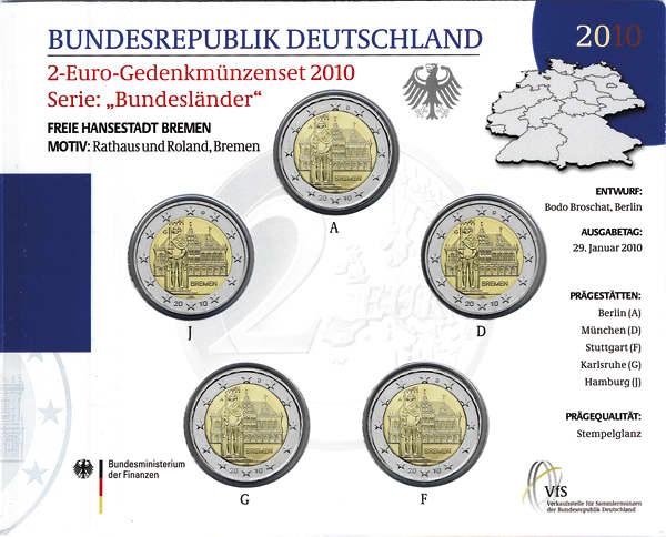 Deutschland 2-Euro-Gedenkmünzset 2010 Bremen (Bremer Rathaus mit Roland) stg