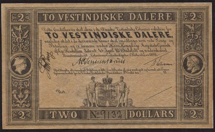 Dänisch West Indien / Danish West India P.08r 2 Dalere 1898 (2/1)