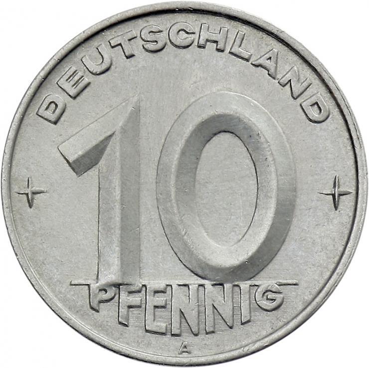 DDR 10 Pfennig (Alu) RS Hammer&Zirkel f.stgl