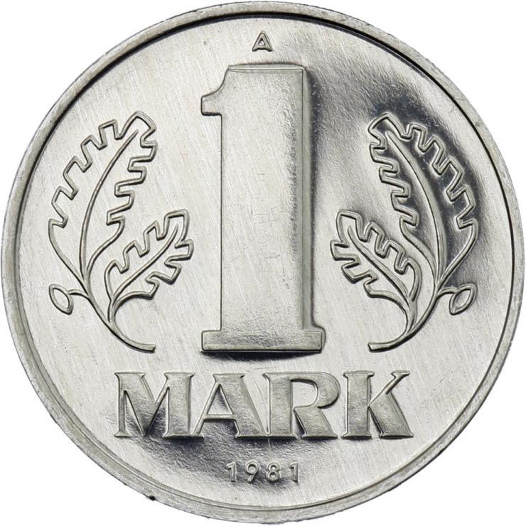 DDR 1 Mark (Alu) Exportqualität (stgl)